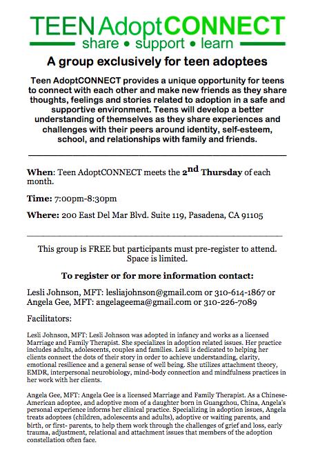 Screen shot Teen AdoptCONNECT flyer
